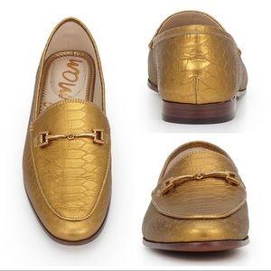 Sam Edelman Loraine Gold horsebit embossed loafers